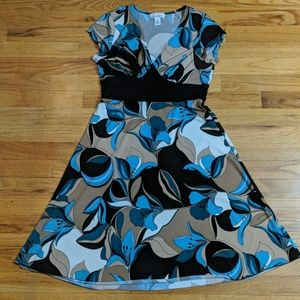 Enfocus woman's blue and brown dress made in usa